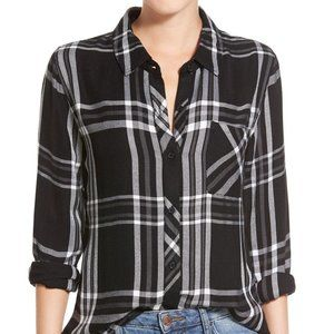 RAILS Hunter Plaid Shirt Black White {EE40}